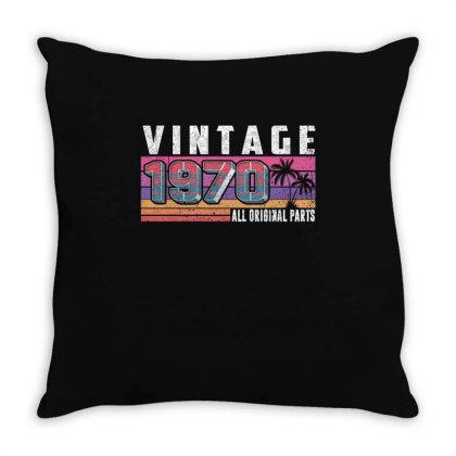 Vintage 1970 Birthday All Original Parts Throw Pillow Designed By Love Shiga
