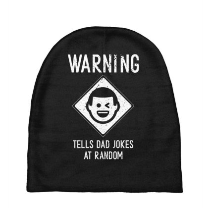 Mens Warning. Tells Dad Jokes At Random Cool Cute Fathers Day Gift Fun Baby Beanies Designed By Diogo Calheiros