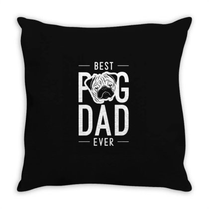 Mens Best Pug Dad Ever Cool Cute Fathers Day Gift Funny Throw Pillow Designed By Diogo Calheiros