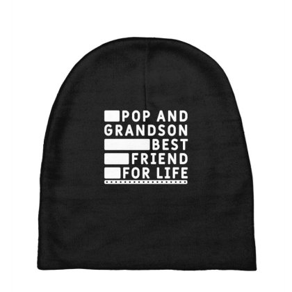Mens Pop And Grandson Best Friends For Life Cool Cute Fathers Day Gift Baby Beanies Designed By Diogo Calheiros