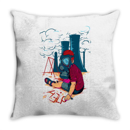Boy Wearing Gas Mask Throw Pillow Designed By Egyboy