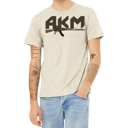 Assault Rifle Akm Heather T-shirt Designed By Aim For The Face