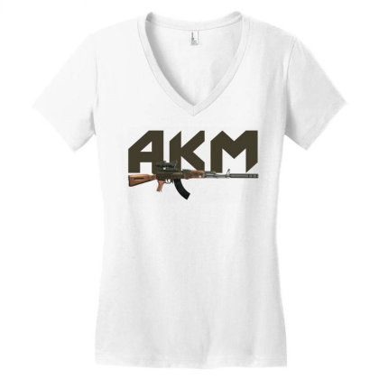 Assault Rifle Akm Women's V-neck T-shirt Designed By Aim For The Face