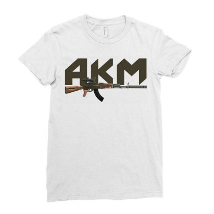 Assault Rifle Akm Ladies Fitted T-shirt Designed By Aim For The Face
