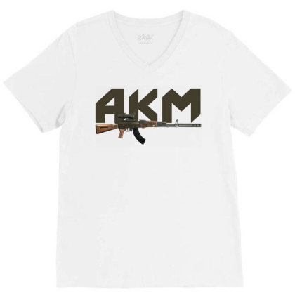 Assault Rifle Akm V-neck Tee Designed By Aim For The Face