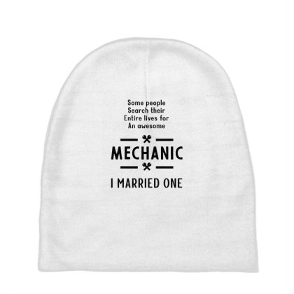 I Married One Mechanic - Mechanic Cool Job Gift Baby Beanies Designed By Diogo Calheiros