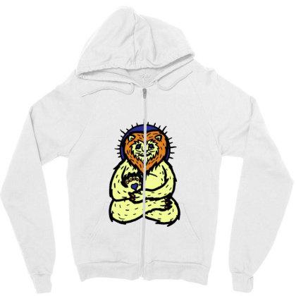 Spirit Animal Lion Zipper Hoodie Designed By Sr88