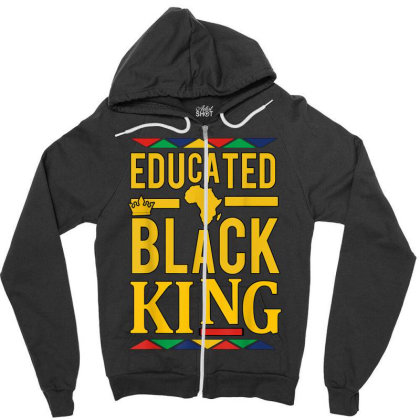 Dashiki Educated Black King Shirt   African Dna Pride Zipper Hoodie Designed By Conco335@gmail.com