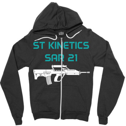 Assault Rifle Sar 21 Zipper Hoodie Designed By Aim For The Face