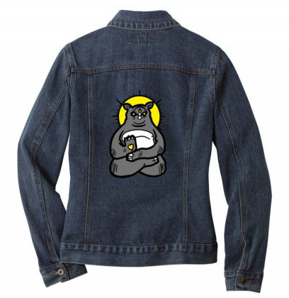 Spirit Animal Rhino Ladies Denim Jacket Designed By Sr88