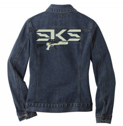 Sks Rifle Ladies Denim Jacket Designed By Aim For The Face