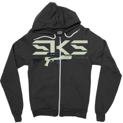 Sks Rifle Zipper Hoodie Designed By Aim For The Face
