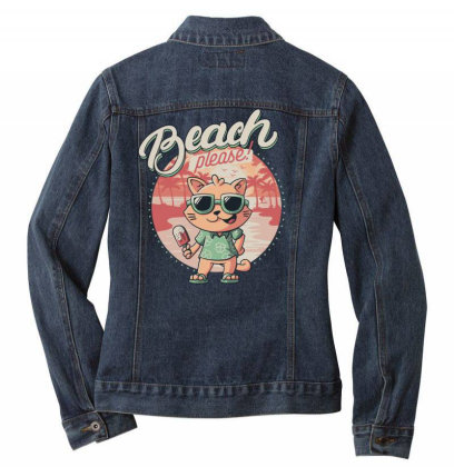 Beach Please Funny Summer Cat Ladies Denim Jacket Designed By Eduely