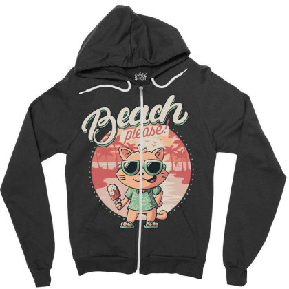 Beach Please Funny Summer Cat Zipper Hoodie Designed By Eduely