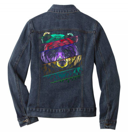 Ribal Distorted Bear Ladies Denim Jacket Designed By Mrt90