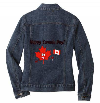 Happy Canada Day Ladies Denim Jacket Designed By Redline77