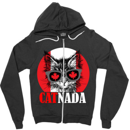 Catnada Funny Zipper Hoodie Designed By Redline77