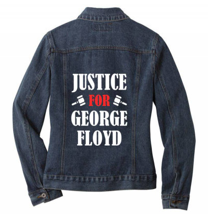 Justice For George Floyd Ladies Denim Jacket Designed By Redline77