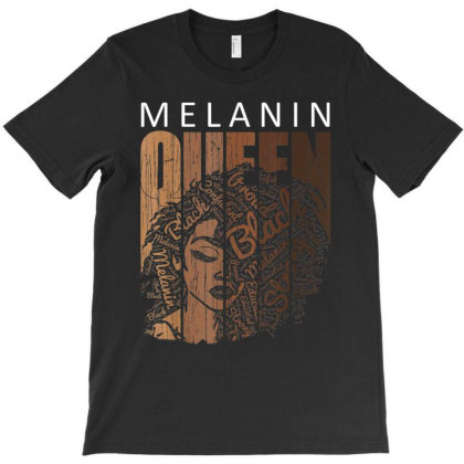 Melanin Queen Tee African American Strong Black Natural Afro T-shirt Designed By Vanitty