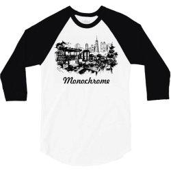 monochrome black white color 3/4 Sleeve Shirt | Artistshot