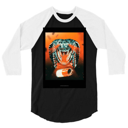 Acid Snake 3/4 Sleeve Shirt Designed By Rfjrt