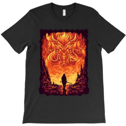 Samurai Vs Dragon T-shirt Designed By Almujaddidi