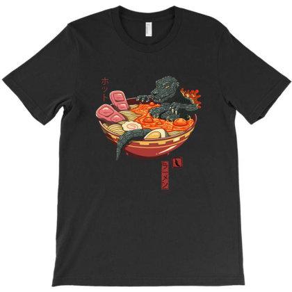 Ramenzilla Wave T-shirt Designed By Mazikos