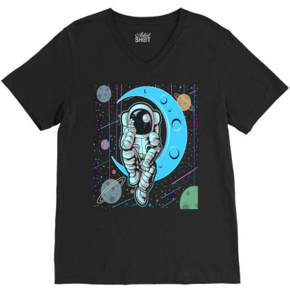 Thoughtful Astronaut Distressed V-neck Tee Designed By Chris299