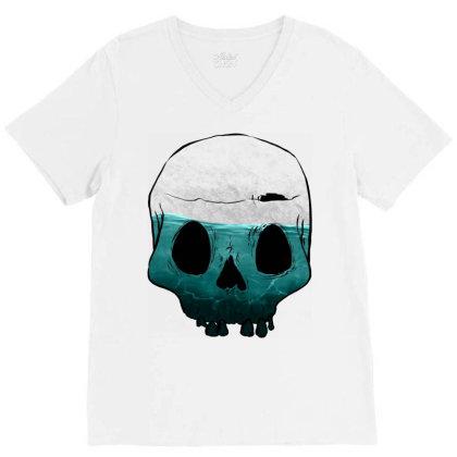 Cloudy Skull V-neck Tee Designed By Sketchfunart