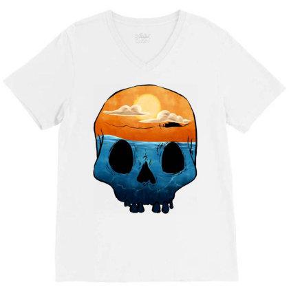 Sunset Skull V-neck Tee Designed By Sketchfunart