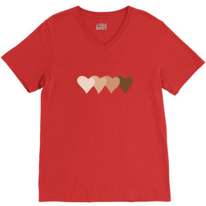 United By Hearts V-neck Tee Designed By Ifrah72