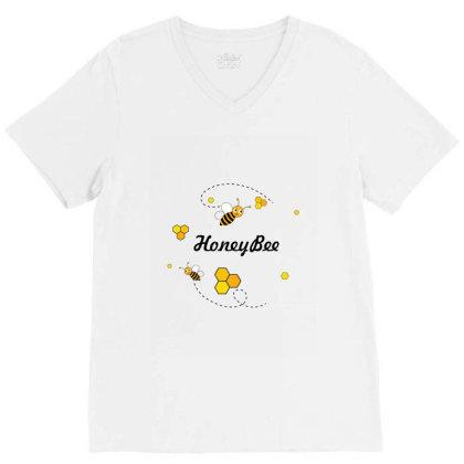 Honeybee V-neck Tee Designed By Sakshipruthi05
