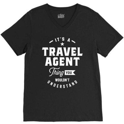 Travel Agent Job Title Gift V-neck Tee Designed By Cidolopez