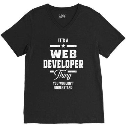 Web Developer Job Title Gift V-neck Tee Designed By Cidolopez