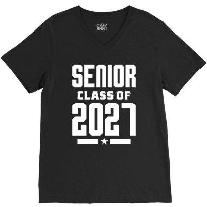 Class Of 2027 - Senior Graduation School V-neck Tee Designed By Cidolopez