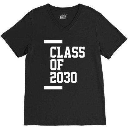 Class Of 2030 - Senior Graduation School V-neck Tee Designed By Cidolopez