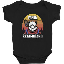 Panda Skatboard Funny Baby Bodysuit Designed By Chris299