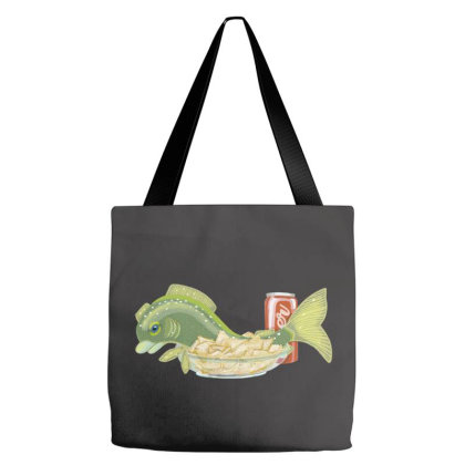 Fish & Chips Tote Bags Designed By Bullshirtco