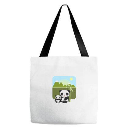 T Shirt With Two Sweet Panda Cartoons Tote Bags Designed By Deepakbharthana