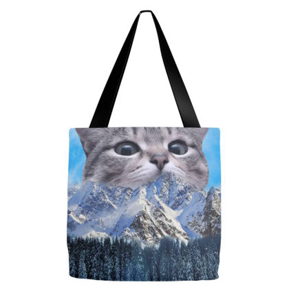 Meow Snow Mountains Funny Cat Gift Tote Bags Designed By Love Shiga