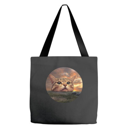 Meow Big Head Cat Funny Gift Tote Bags Designed By Love Shiga