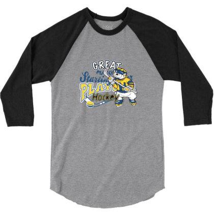 Hockey 3/4 Sleeve Shirt Designed By Disgus_thing