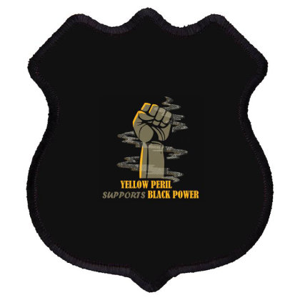 Yellow Peril Supports Black Power Shield Patch Designed By Red Story