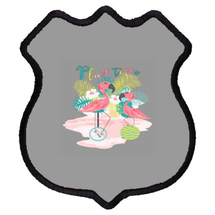 Play Time Flamingos Shield Patch Designed By Sweetcoolvibes