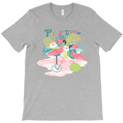 Play Time Flamingos T-shirt Designed By Sweetcoolvibes