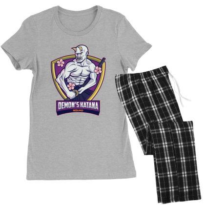 Demon's Katana Squard Women's Pajamas Set Designed By Estore