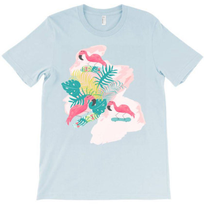 Flamingos Skateboarding T-shirt Designed By Sweetcoolvibes