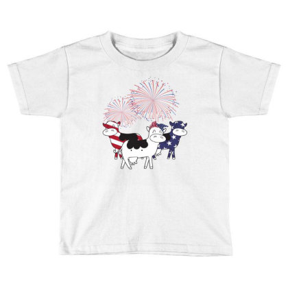 Cow American Flag Patriotic 4th Of July Toddler T-shirt Designed By Hoainv