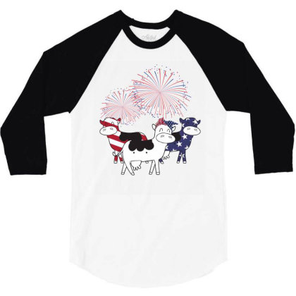 Cow American Flag Patriotic 4th Of July 3/4 Sleeve Shirt Designed By Hoainv