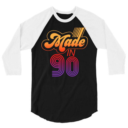Made In 1990 Retro 3/4 Sleeve Shirt Designed By Badaudesign